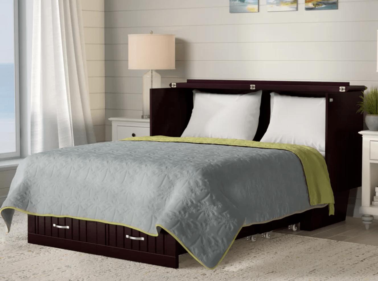 Best Storage Beds; Graham Queen Storage Murphy Bed with Mattress