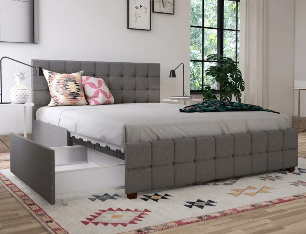 Best Storage Beds; Elizabeth Upholstered Storage Platform Bed