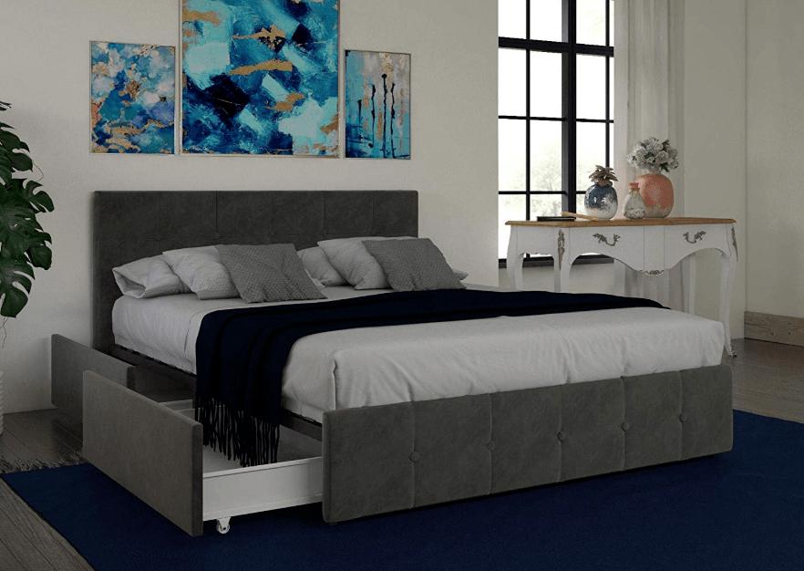 Best Storage Beds; DHP Rose Storage Upholstered Bed, Gray Velvet, Queen
