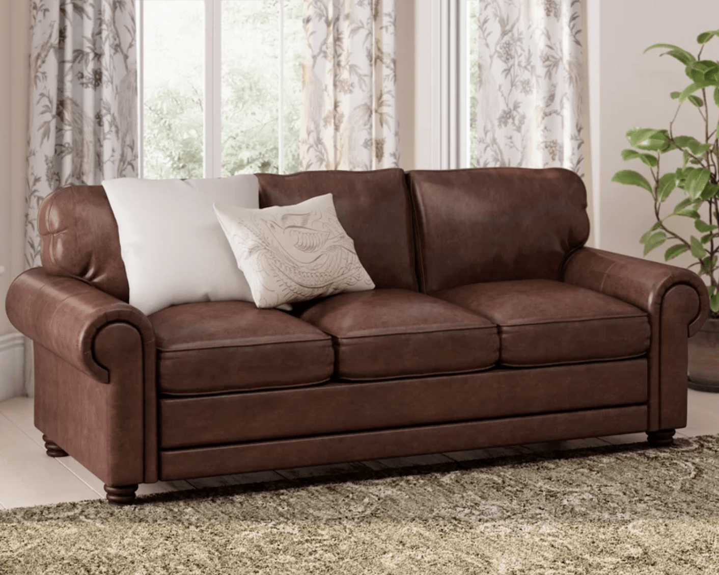 Lambdin Leather 88'' Round Arms Sofa