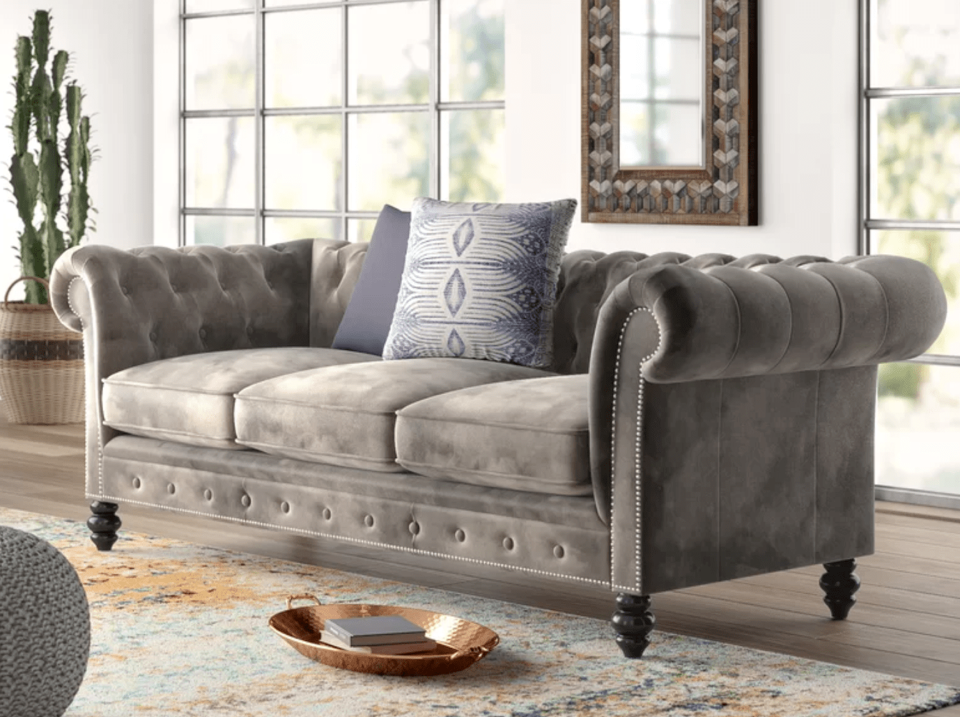 "Brooklyn Leather Chesterfield 87"" Rolled Arms Sofa"