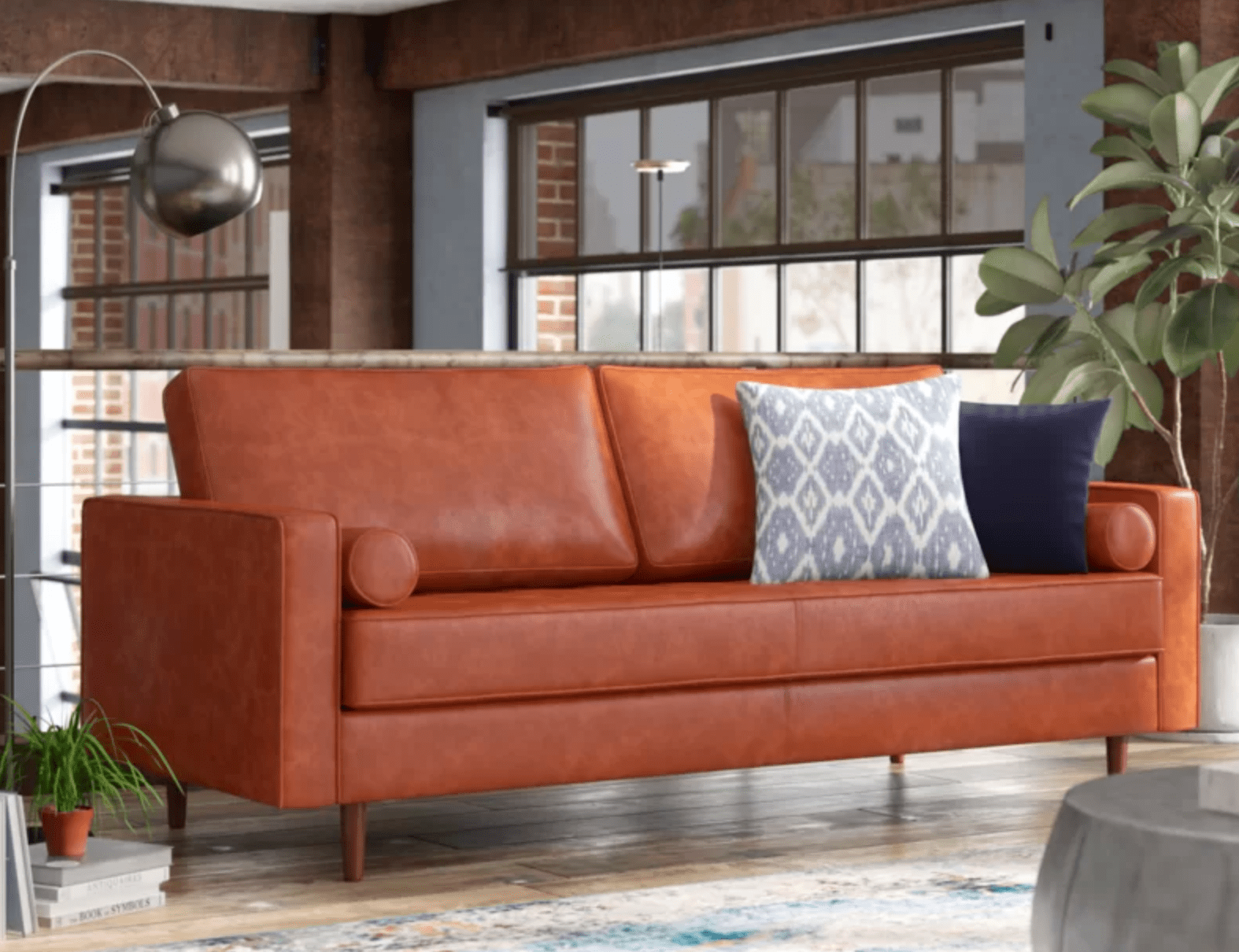 "Bombay Leather 88"" Square Arms Sofa"